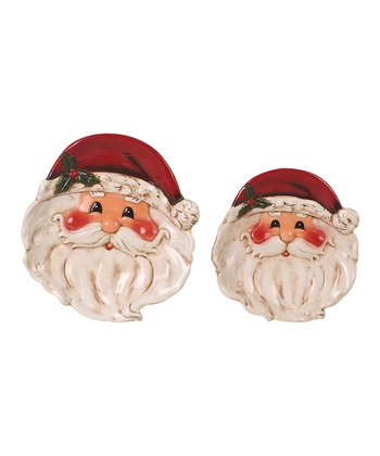 Santa Ceramic Plate - Set of Two