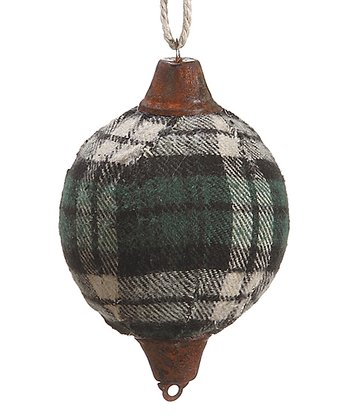 Green Plaid Ball Ornament