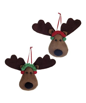 Brown Reindeer Head Ornament Set