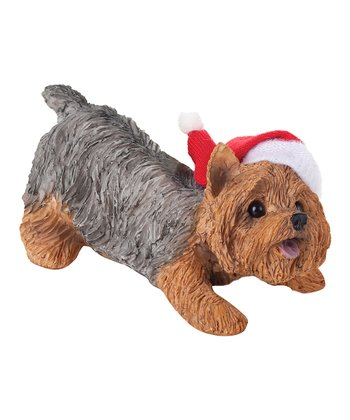 Santa Hat Yorkie Ornament