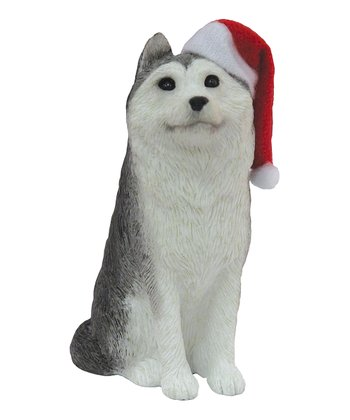 Santa Hat Husky Ornament