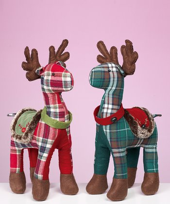 Plaid Moose Plush Figurine Set