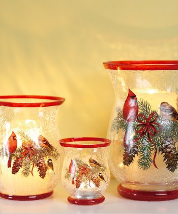 Winter Cardinal Large Candleholder
