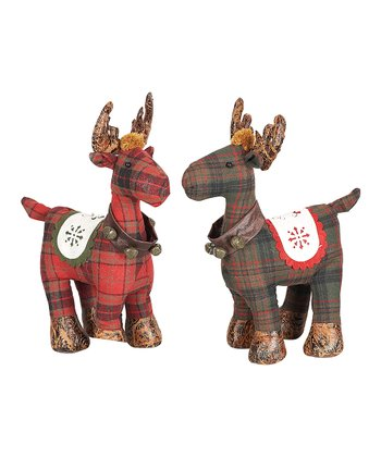 Plaid Reindeer Large Plush Figurine Set