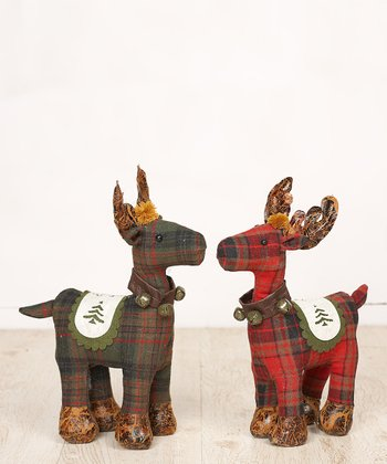 Plaid Reindeer Small Plush Figurine Set
