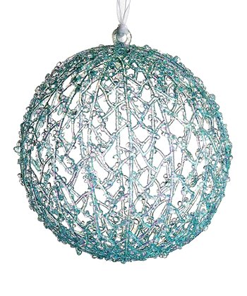 Blue Glitter Ball Ornament
