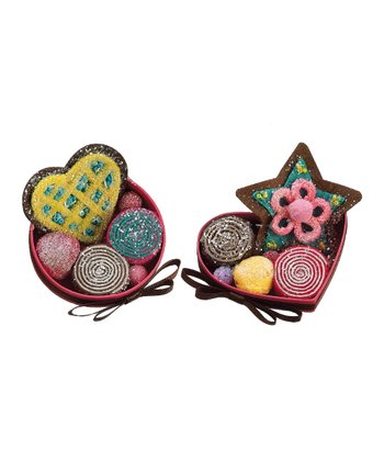 Glitter Candy Box Ornament Set