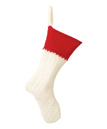White & Red Block Stocking