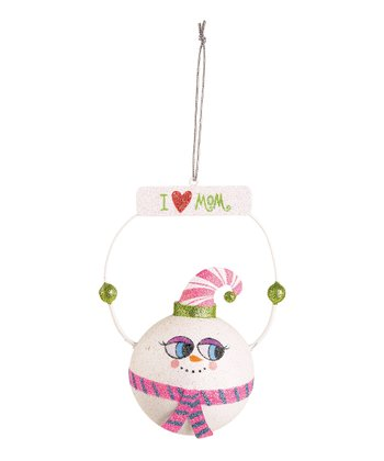 'I Love Mom' Snowman Ornament