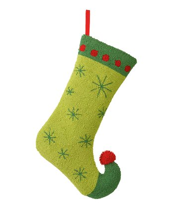 Green Snowflake Stocking