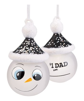 'Number One Dad' Marker Snowman Ornament