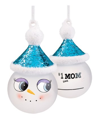 'Number One Mom' Marker Snowman Ornament