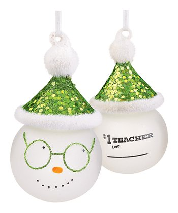'Number One Teacher' Marker Snowman Ornament