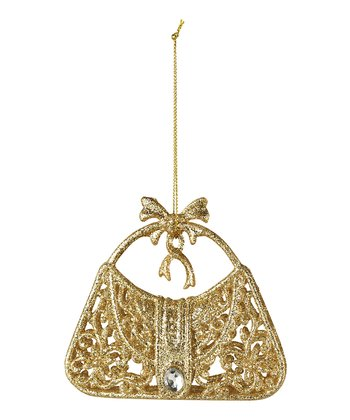 Gold Glitter Purse Ornament