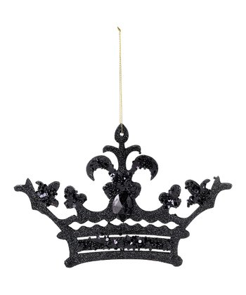 Black Glitter Crown Ornament