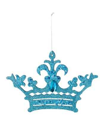 Blue Glitter Crown Ornament