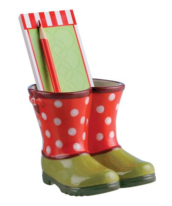 Red & Green Wish List & Boots Ornament