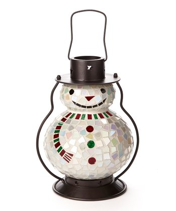 Red & Green Mosaic Snowman Lantern