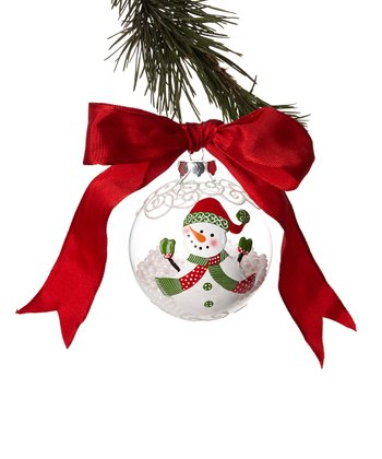 Green Hat Snowman Ball Ornament