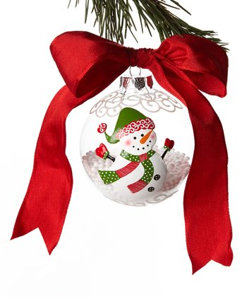 Red Hat Snowman Ball Ornament