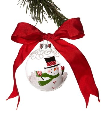 Green Scarf Snowman Ball Ornament