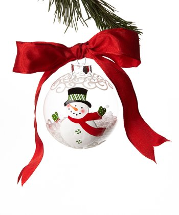 Red Scarf Snowman Ball Ornament