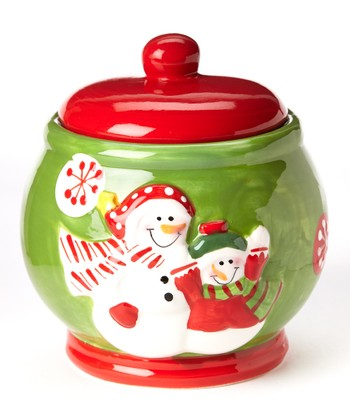 Green & Red Snowman Cookie Jar