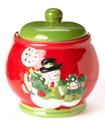 Red & Green Snowman Cookie Jar