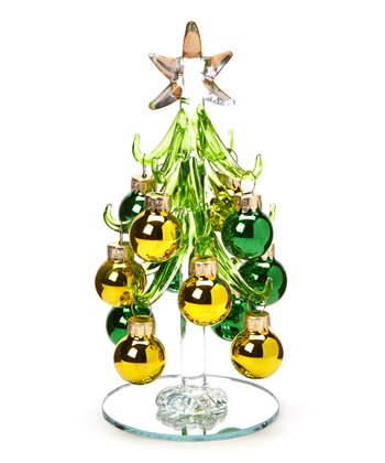 Green & Gold Glass Tree Set