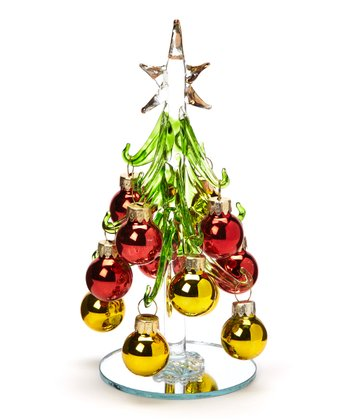 Red & Gold Glass Tree Set