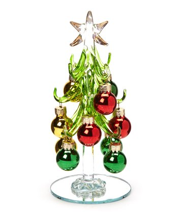 Red & Green Glass Tree Set
