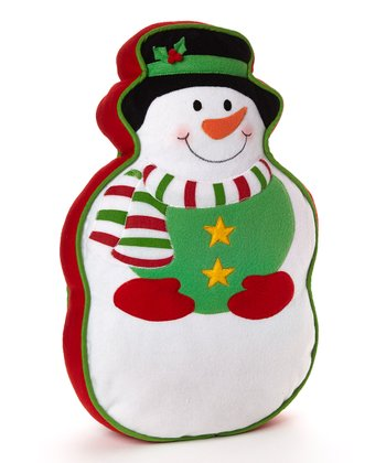 Green & Red Snowman Pillow