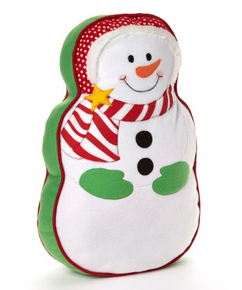 White & Green Snowman Pillow