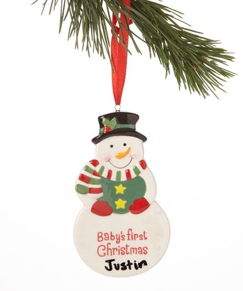 Green Bib 'First Christmas' Ornament