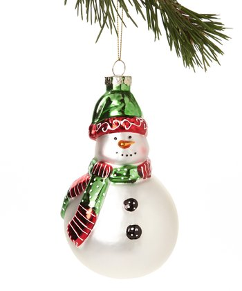 Green Hat Snowman Glass Ornament