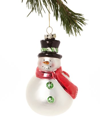 Red Scarf Snowman Glass Ornament