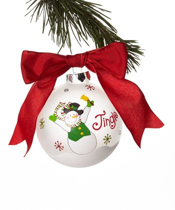 'Jingle' Snowman Ball Ornament