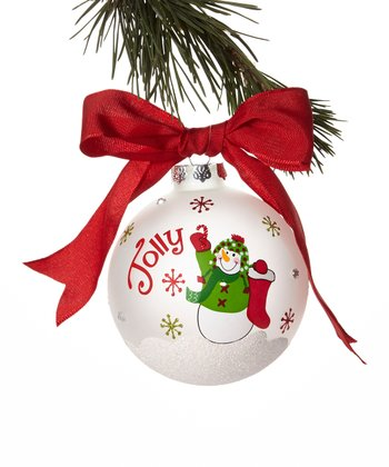 'Jolly' Snowman Ball Ornament