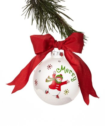 'Merry' Snowman Ball Ornament