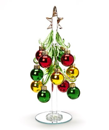 Gold & Red Glass Tree Set