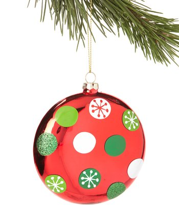 White & Green Polka Dot Ornament