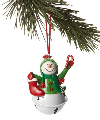 Green Jacket Snowman Bell Ornament