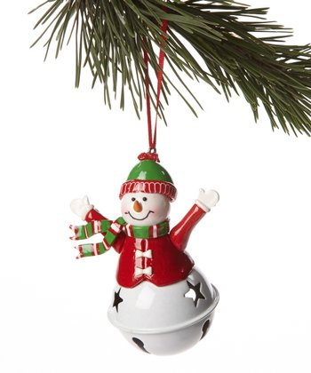 Red Jacket Snowman Bell Ornament