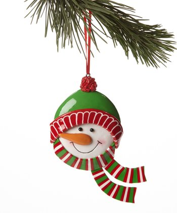 Green Hat Snowman Head Ornament