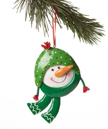 Green Beanie Snowman Head Ornament