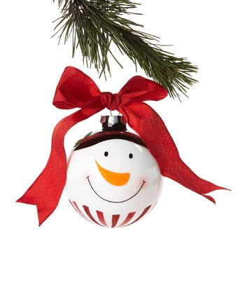 Red Ribbon Snowman Face Ornament