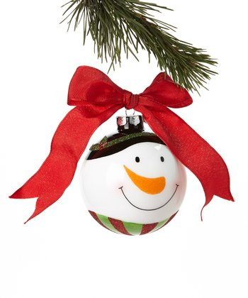 Green Hat Snowman Face Ornament