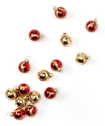 Red & Gold Glossy Ball Ornament Set