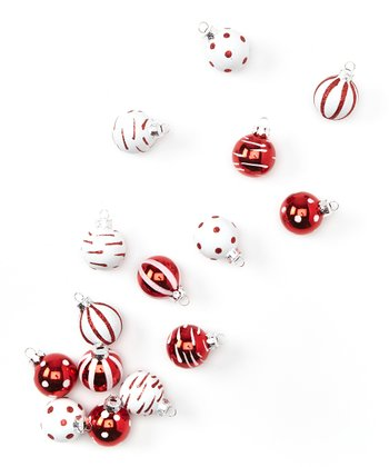 Red & White Ball Ornament Set