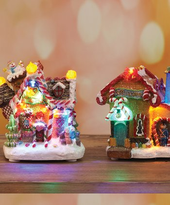 Gingerbread House LED Figurine Set